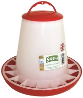 Plastic Poultry Feeder Red & White